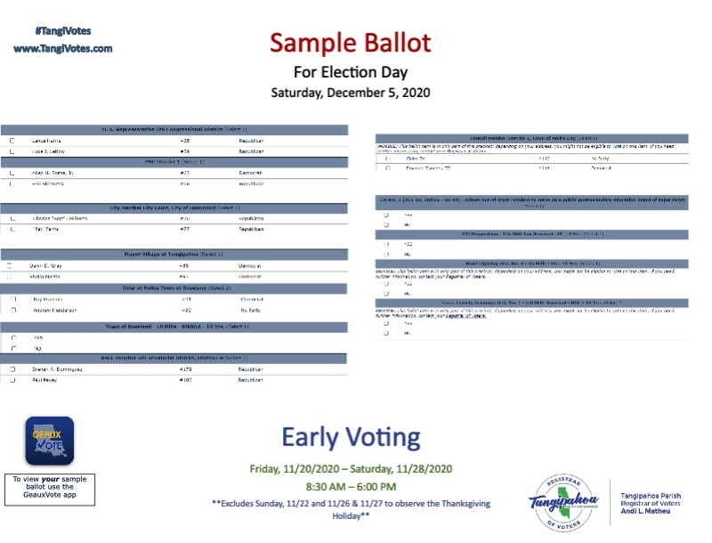 Sample ballot for the election being held on November 3rd, 2020